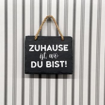 Schiefer Hängetafel eckig mit Spruch / Weisheit