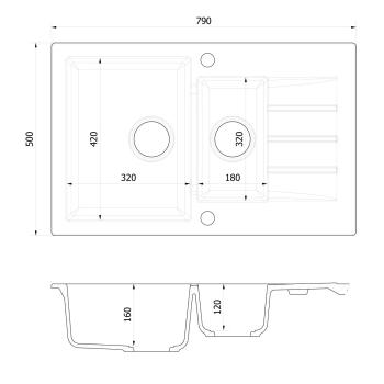 Axigran Granitspüle Mojito 120 Küchenspüle...