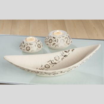 Gilde Handwerk Teelichthalter Soffione braun / beige