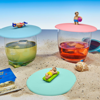 3er Set Glasdeckel Beach Boys aus Silikon perfekt zum...