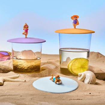3er Set Glasdeckel Beach Girls aus Silikon perfekt zum...