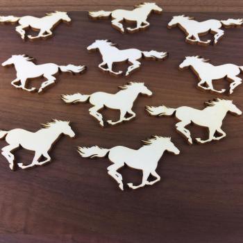 """20er Set Holz Pferd """"Wildfang"""" Streudeko Tischdeko aus Holz Pferd für Geburtstag oder zum Basteln"""