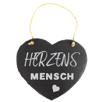 """Schieferherz 20 x 17 cm mit Spruch """"HERZENSMENSCH"""""""