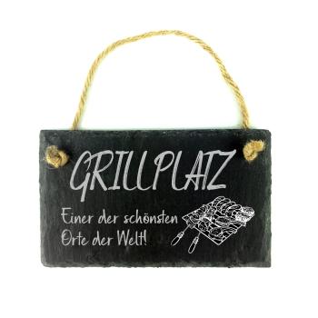 """Schiefertafel Schild mit Spruch """"Grillplatz - Einer..."""