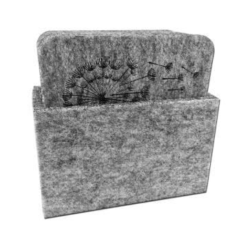 Filz Untersetzer BLUME hellgrau mit Box 9-teilig