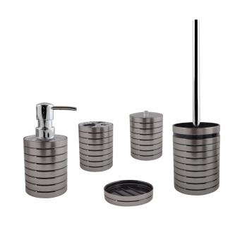 Komplett Set Bad Accessoires Serie Steel silber