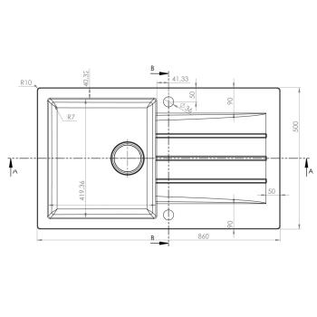 Granitspüle Mojito 100 Weiss 86x50 cm