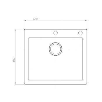 Axigran Granitspüle Mojito 60 Schwarz Einbeckenspüle