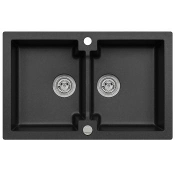 Granitspüle Mojito 160 Schwarz Doppelbecken 79 x 50 cm