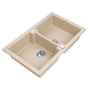 Granitspüle Mojito 160 Beige Doppelbecken 79 x 50 cm