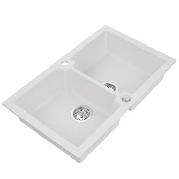 Granitspüle Mojito 160 Weiss Doppelbecken 79 x 50 cm