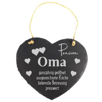 """Schieferherz """"Pension Oma"""" 20 x 17 cm mit..."""