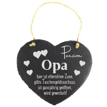 """Schieferherz """"Pension Opa"""" 20 x 17 cm mit..."""