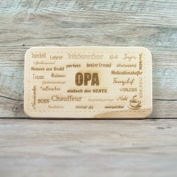 """Frühstücksbrettchen """"Opa"""" mit Lasergravur 225 x 125 mm Buche rechteckig"""