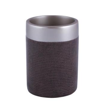 Zahnputzbecher Serie Style Braun/Metall