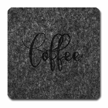 Filzuntersetzer Coffee grau melliert 96 x 96 abgerundet