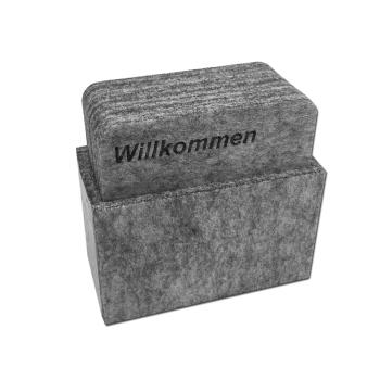 8er Set Filz Untersetzer PEAK hellgrau mit Box &...