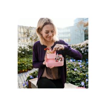 Bento Lunchbox Take a Break midi Nordic Pink 900 ml mit Einsatz & Snackgabel