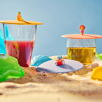 3er Set Glasdeckel Beach Kids aus Silikon perfekt zum...