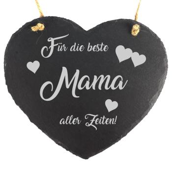 """Schieferherz """"Beste Mama"""" 20 x 17 cm zum Muttertag"""
