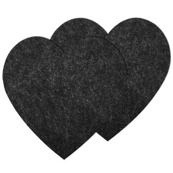 2er Set große Filz Untersetzer Herz Anthrazit