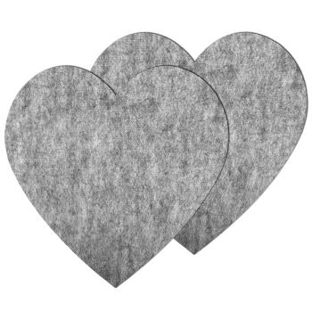 2er Set große Filz Untersetzer Herz Hellgrau