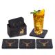 Filz Untersetzer HIRSCH anthrazit / gold mit Box 9-teilig