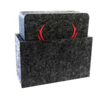 Filz Untersetzer HIRSCH anthrazit / rot mit Box 9-teilig