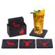 Filz Untersetzer WILD anthrazit / rot mit Box 9-teilig