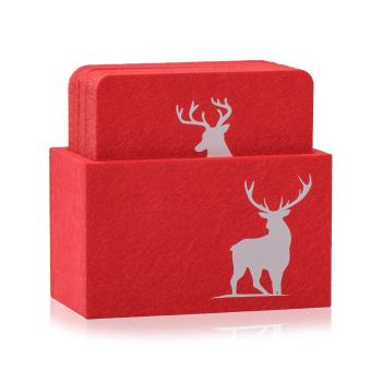 Filz Untersetzer WILD rot / weiß mit Box 9-teilig