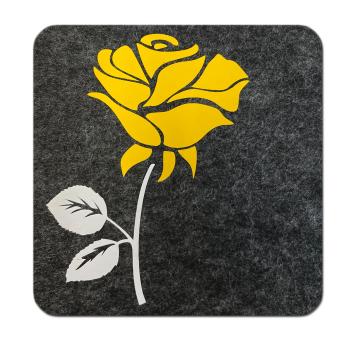 Filz Untersetzer Rose anthrazit gelb