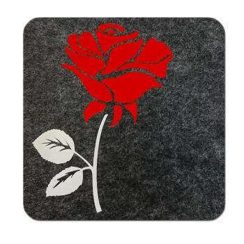 Filz Untersetzer Rose anthrazit rot