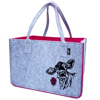 Filz Einkaufstasche COW grau/pink