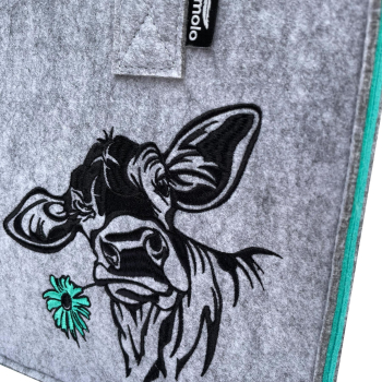 Filz Einkaufstasche COW grau/türkis