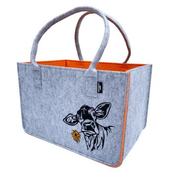 Filz Einkaufstasche COW grau/orange