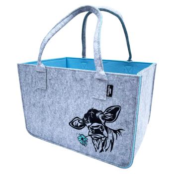 Filz Einkaufstasche COW grau/blau