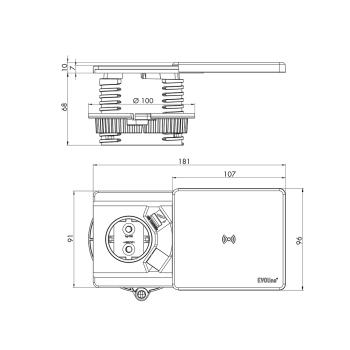 Evoline® Square-USB Qi Steckdosenelement edelstahlfarben lackiert USB Charger