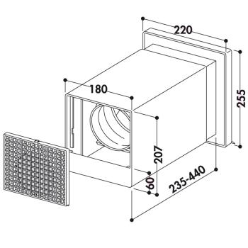 V-Klima A/Z Ab- und Zuluft-Mauerkasten 2 - 4022027