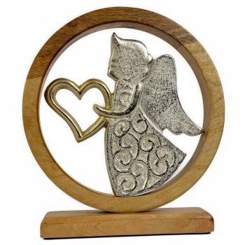 Holzkreis Engel mit Herz Mangoholz