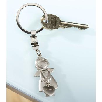 Schlüsselanhänger Schutzengel mit Herz in der Hand Metall